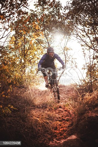Cyclist descends from the mountain on a mountain bike