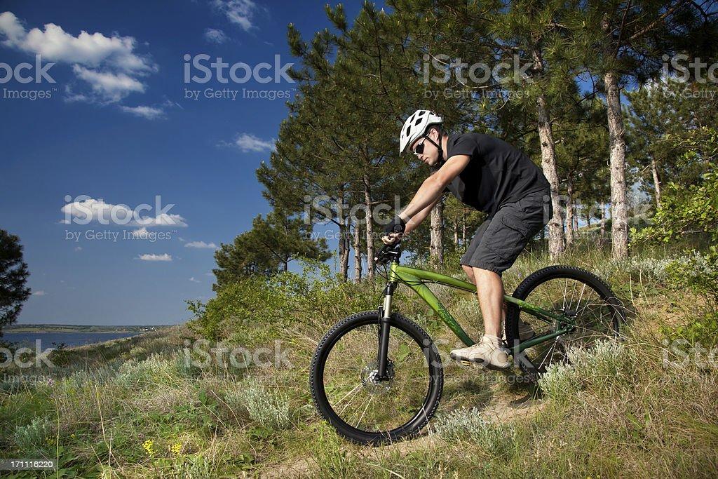 Mountain Biker Down a Hill royalty-free stock photo