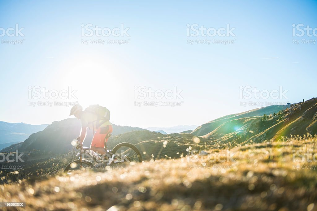 Mountainbiker downhill stock photo