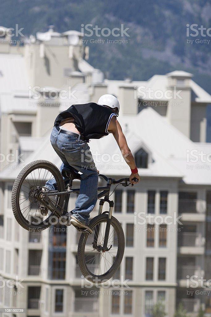 Mountain Biker Flying Through Air royalty-free stock photo