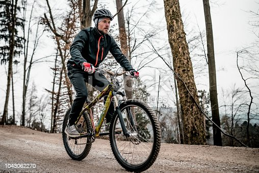 Mountain biker on a forest road driving very fast.