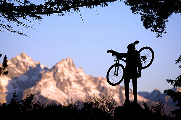 mountainbiker in den grand tetons - fahrradträger stock-fotos und bilder