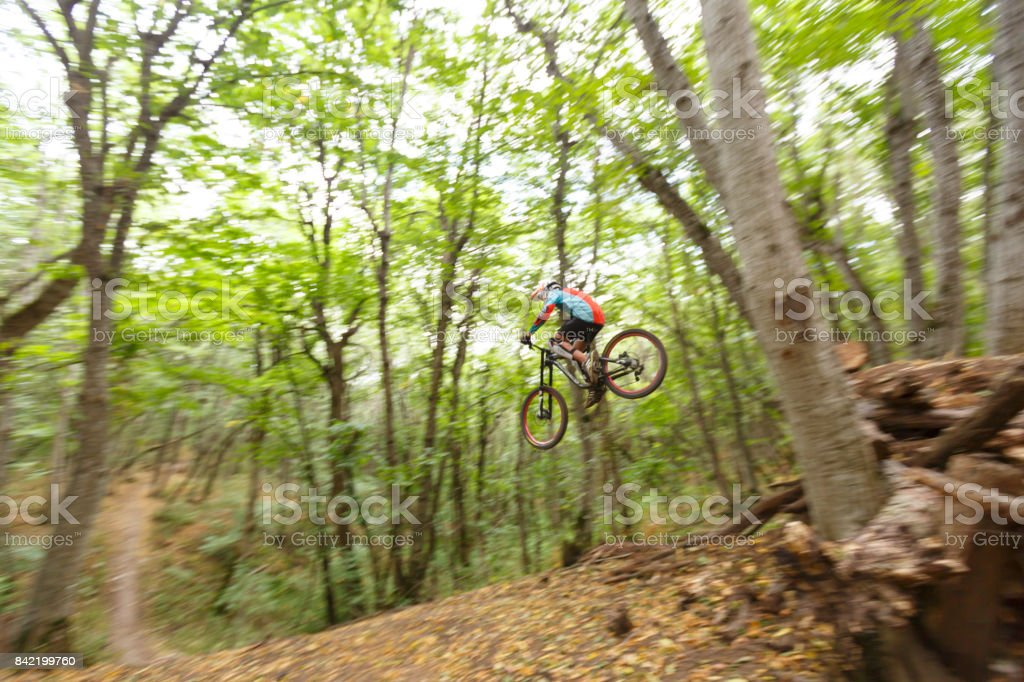 A mountain biker is riding his bicycle in Pyatigorsk in Stavropol Region of Russia stock photo