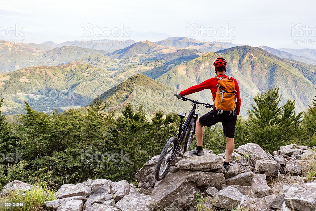 Mountain biker looking at view on bike trail – Foto