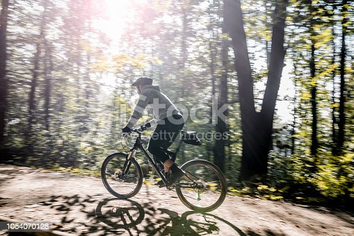 Mountain biker on a forest road.
