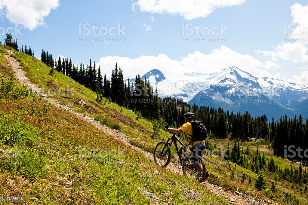 Mountain biker pushing his bike uphill. royalty-free stock photo