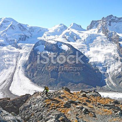 Elevated view of glaciated mountain landscape at Gornergrat, above Zermatt, Switzerland
