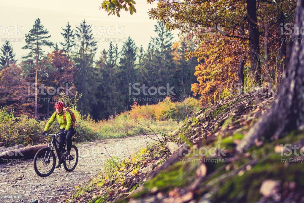 Mountain biker Reiten Fahrrad im Herbst Wald – Foto