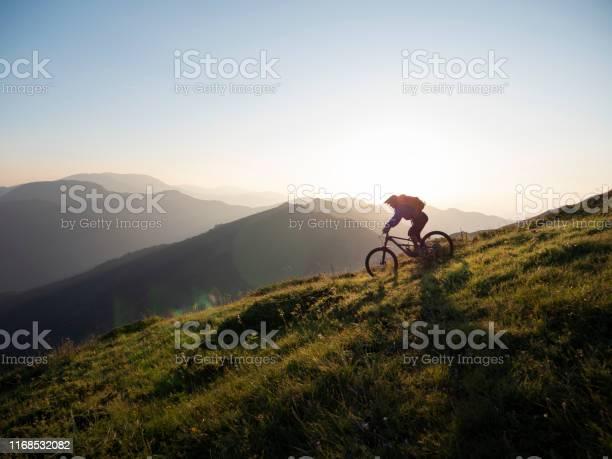 Mountain Biker Rijden Downhill Stockfoto en meer beelden van Actieve levenswijze