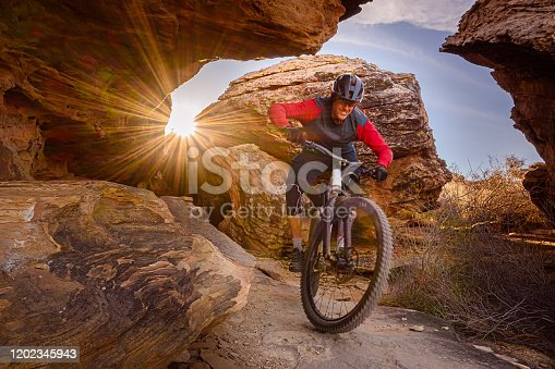 Mountain Biker Riding The Southwest Desert