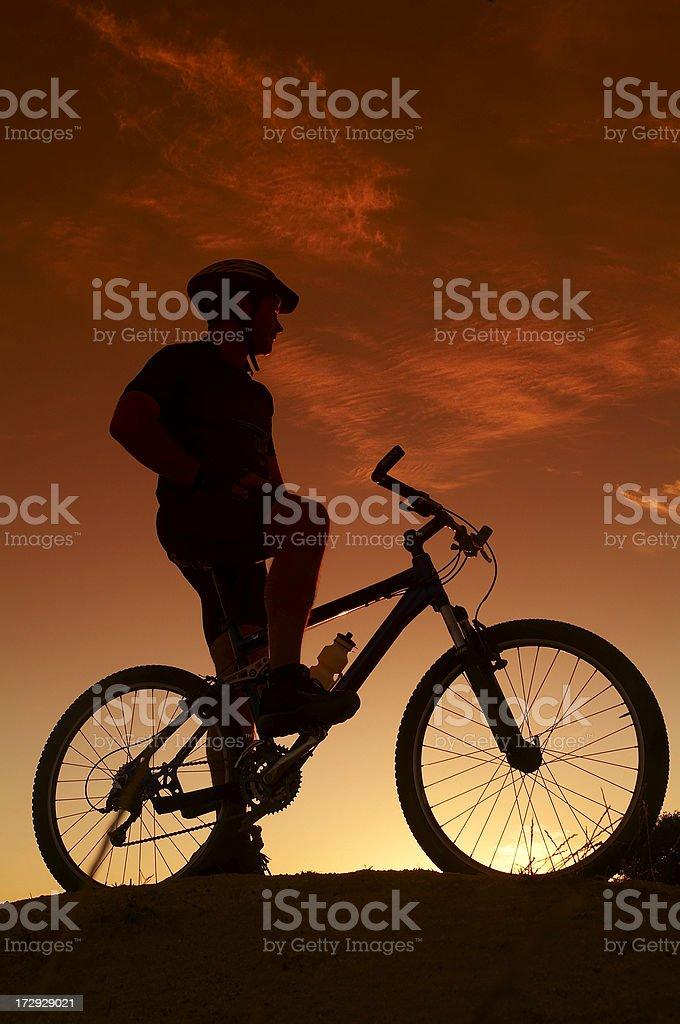 Mountain biker silhouette royalty-free stock photo