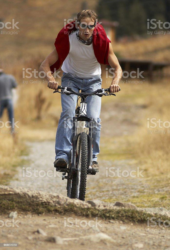 Mountain biker & small drop royalty-free stock photo