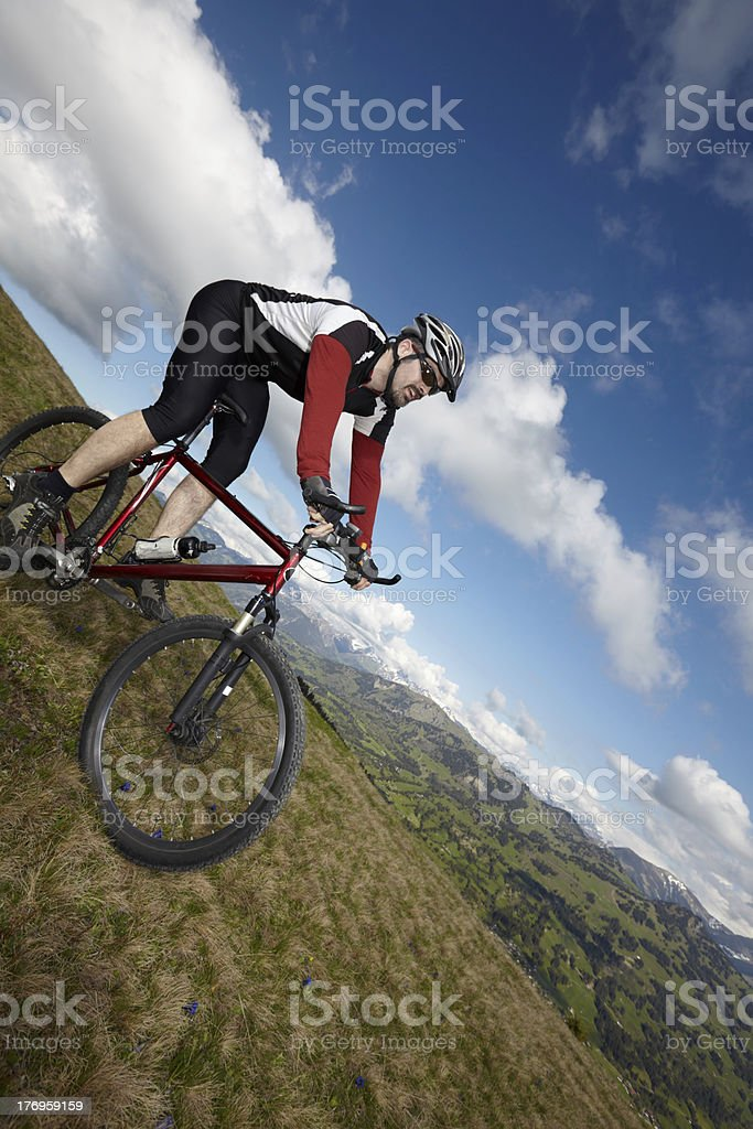 Mountain Biker with view stock photo