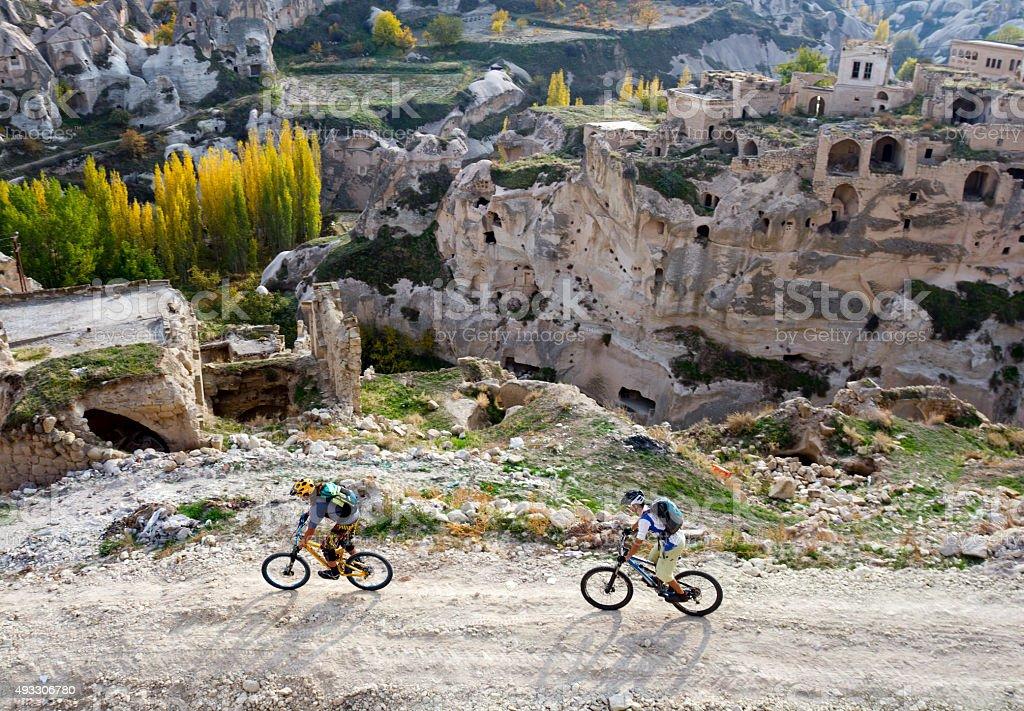 Mountain bikers exploring new routes in Turkey stock photo