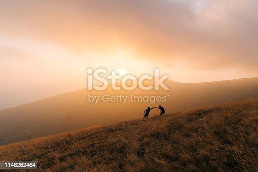 Hazy valley behind