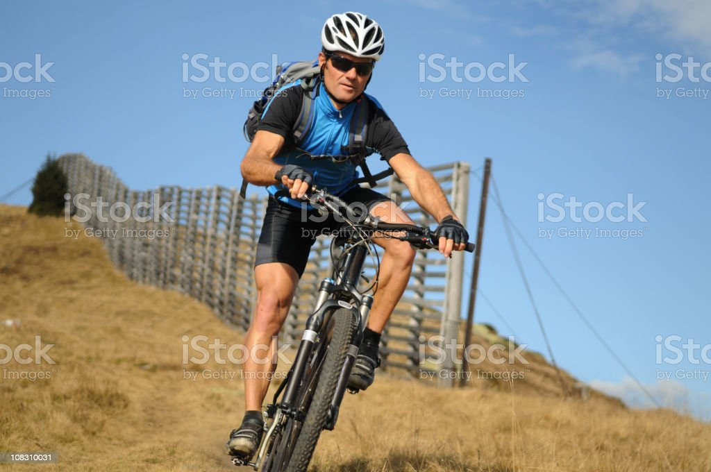 Mountainbiker in action royalty-free stock photo
