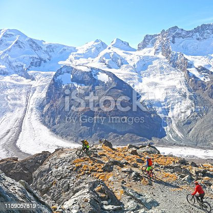They are high above a glacier and mountain landscape above Zermatt, Switzerland