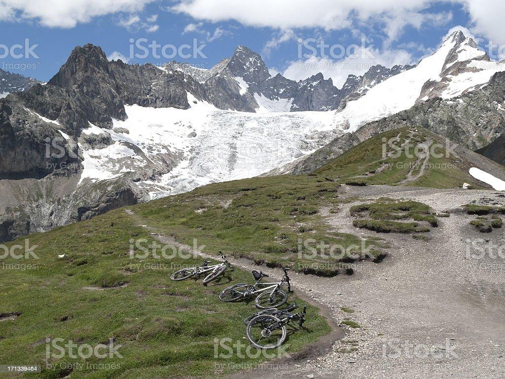 Mountain Bikes and Alps royalty-free stock photo