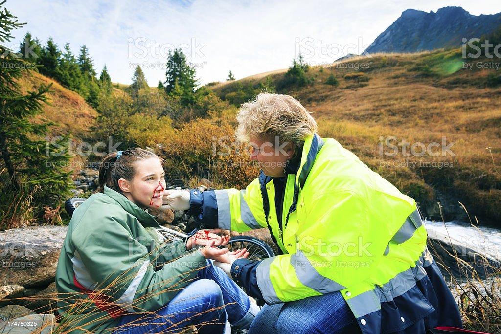 mountain biking accident stock photo