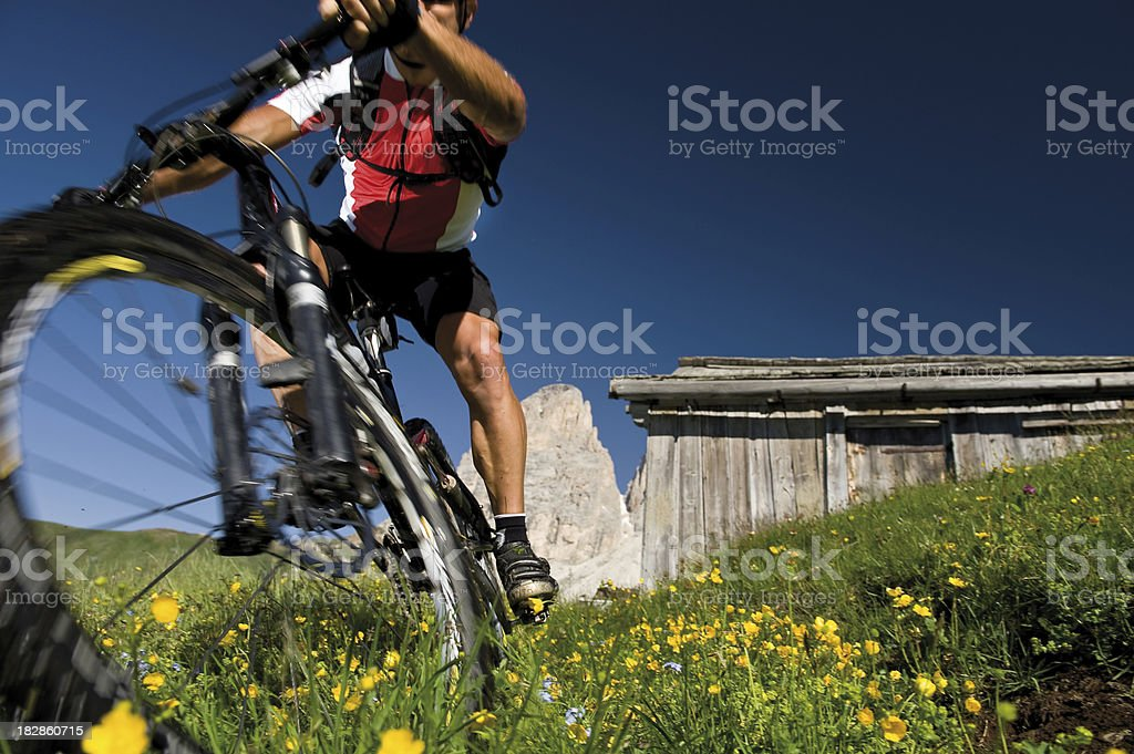 Mountain Biking Blurred Motion stock photo