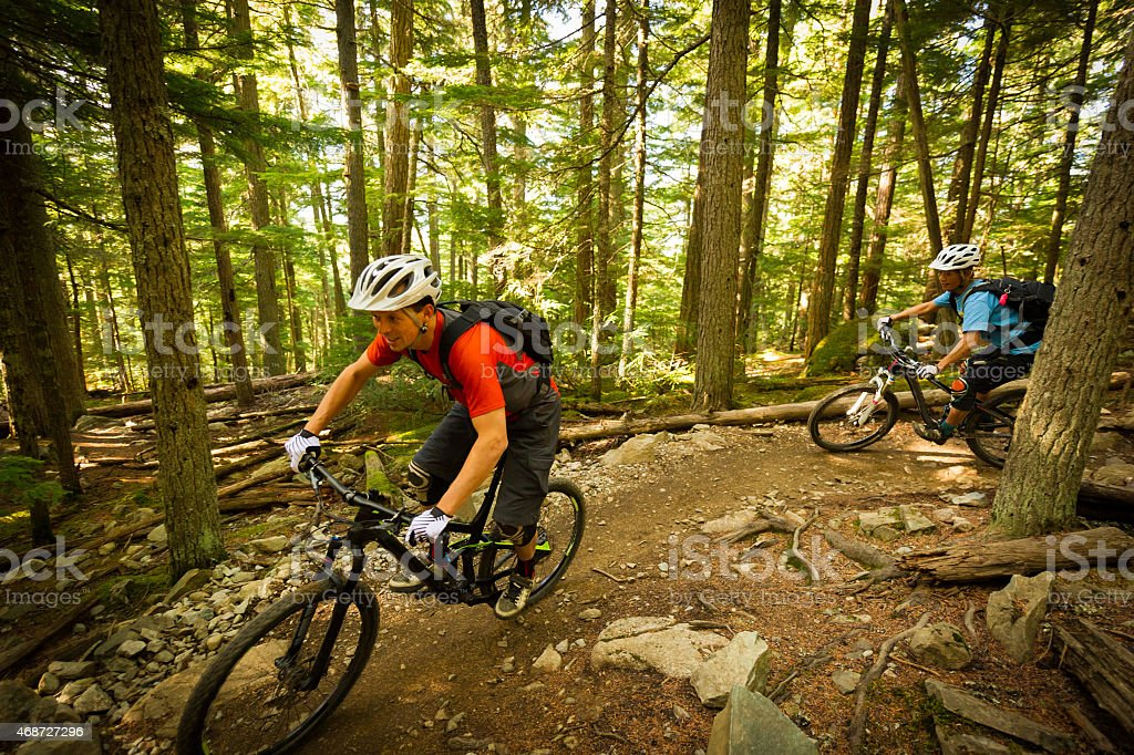 Mountain Biking Couple Couple Mountain Biking through the forest 2015 Stock Photo