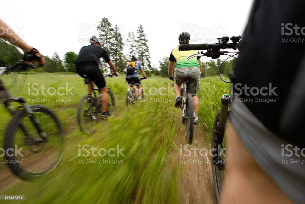 Mountain Biking Friends stock photo