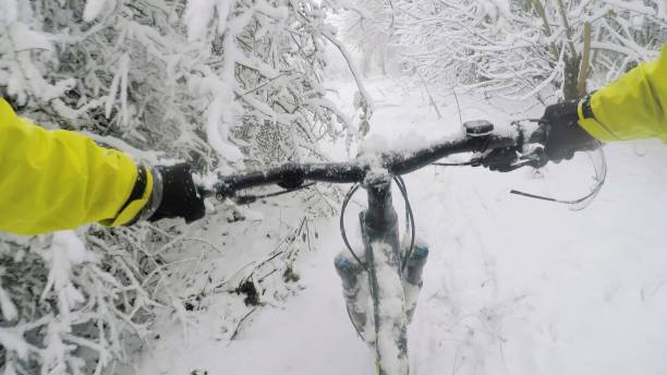 Mountain biking in the snow woods, Oxfordshire in England stock photo