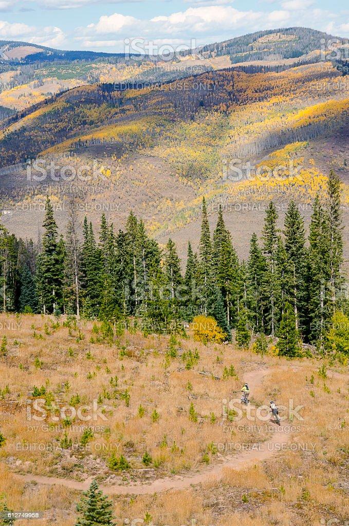 Mountain Biking in Vail, Colorado stock photo