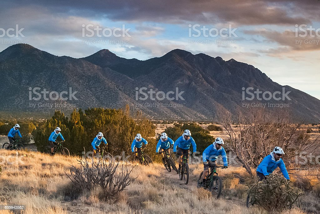 mountain biking man new mexico stock photo