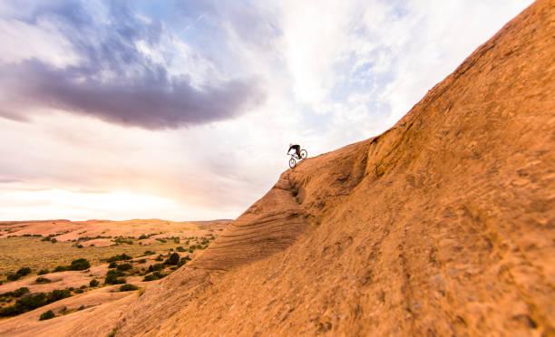 Mountain biking near Moab Utah stock photo