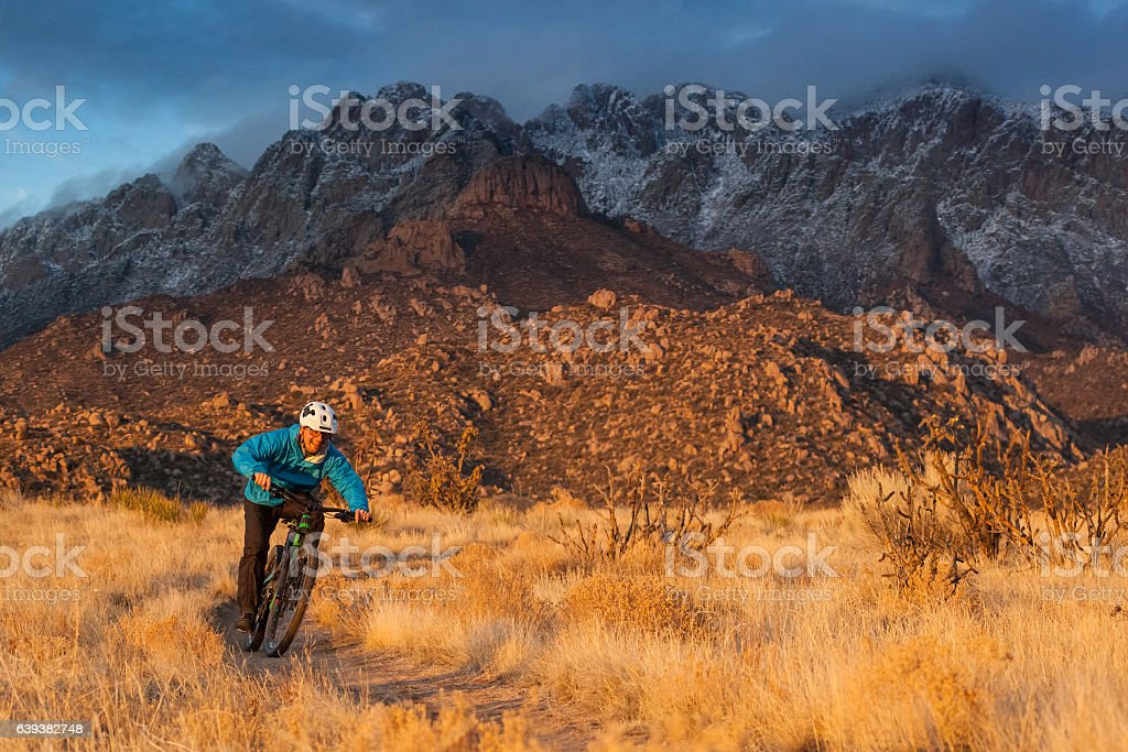 mountain biking new mexico nature and adventure stock photo
