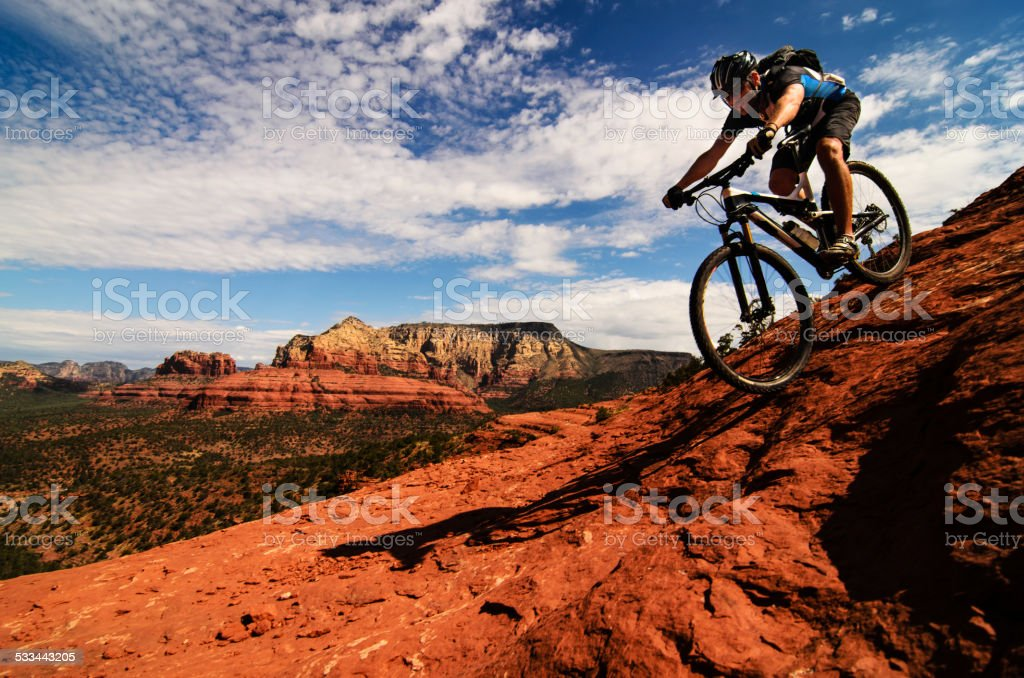 Mountain Biking on Slickrock stock photo