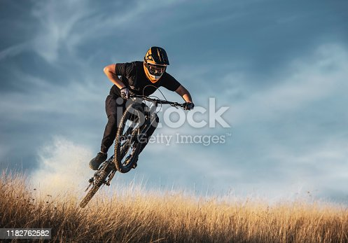 Skilled mountain biker jumping.