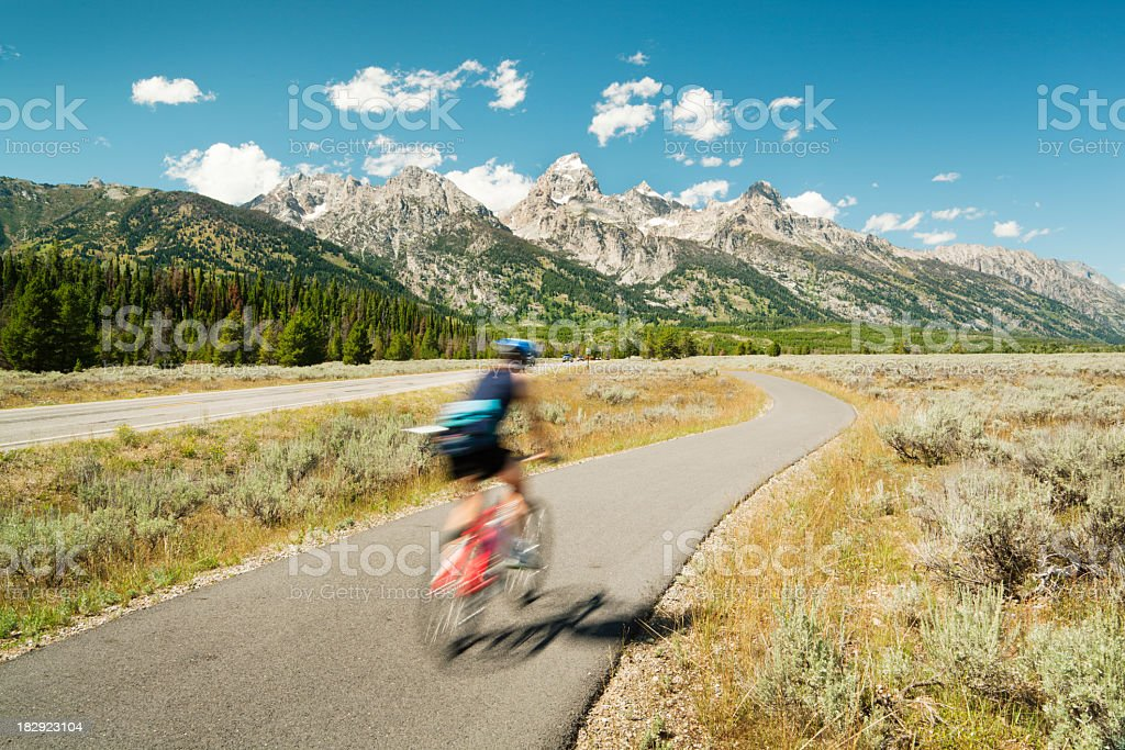 Mountain Biking, Road Cycling in Grand Teton National Park, USA royalty-free stock photo