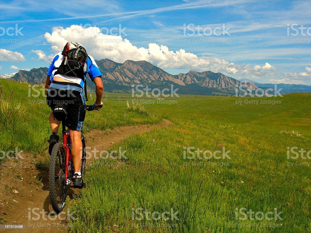Mountain biking towards flatirons stock photo