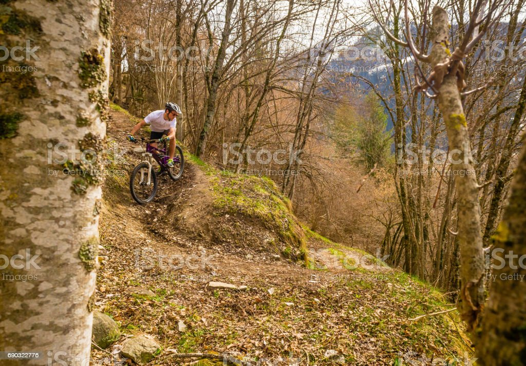 Mountain Biking Trail Switzerland Stock Photo - Download