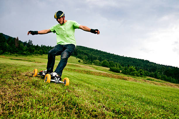Mountain boarder in action stock photo