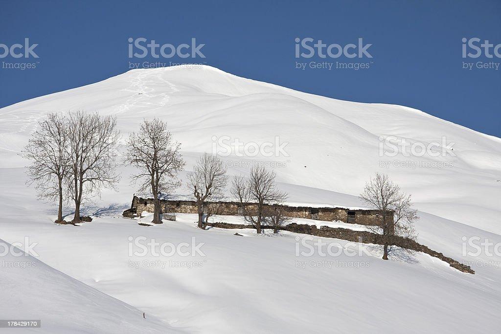 mountain cabin snowy landscape royalty-free stock photo