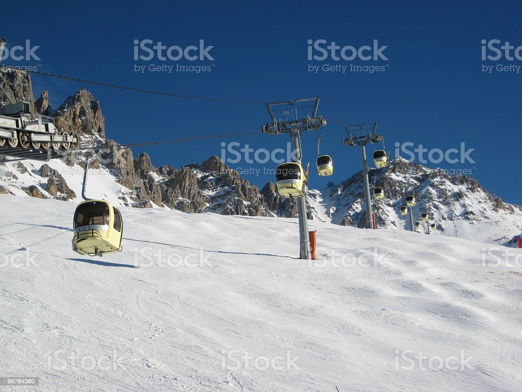 Mountain cable cars royalty-free stock photo
