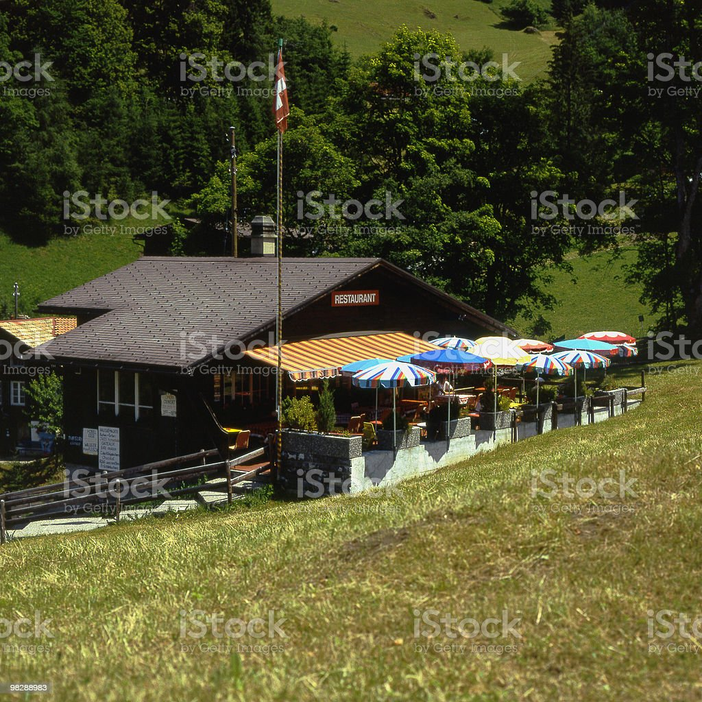 Mountain Cafe at Wengenalp in Switzerland royalty-free stock photo