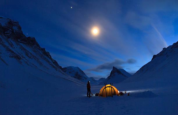 Mountain campsite stock photo