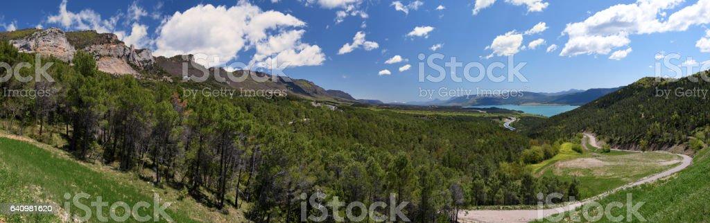 Mountain chain of Sierra de Leyre and Yesa Lake stock photo