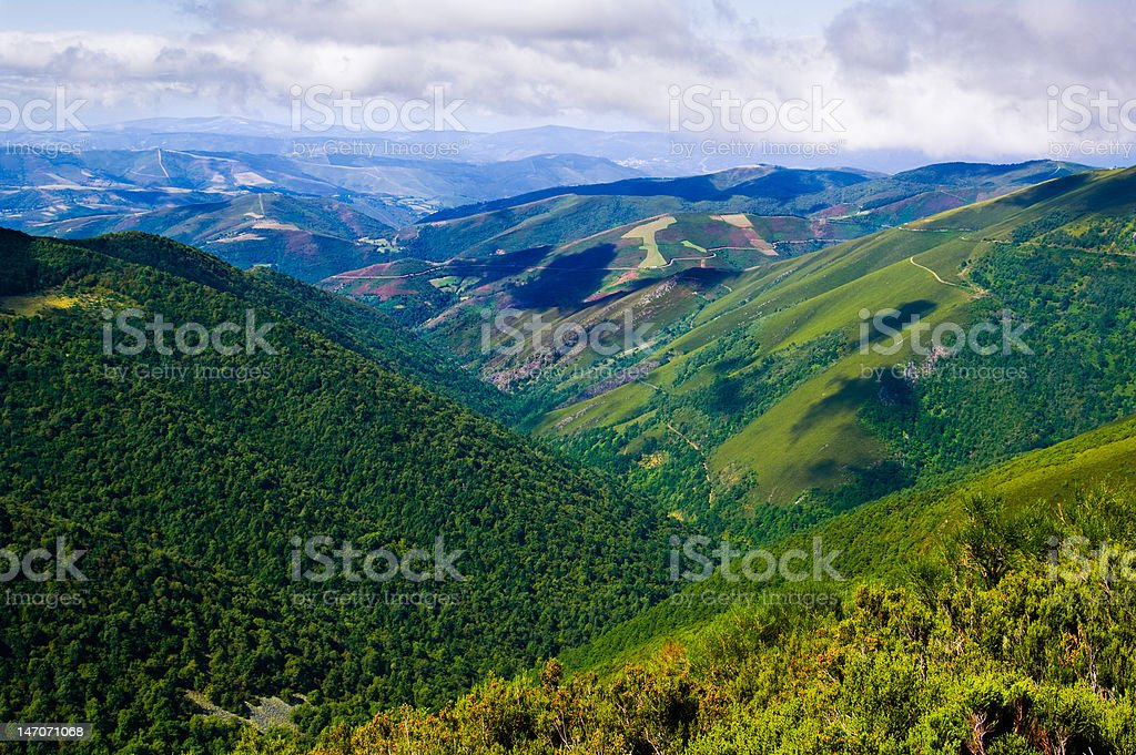 Mountain chain of the Ancares stock photo