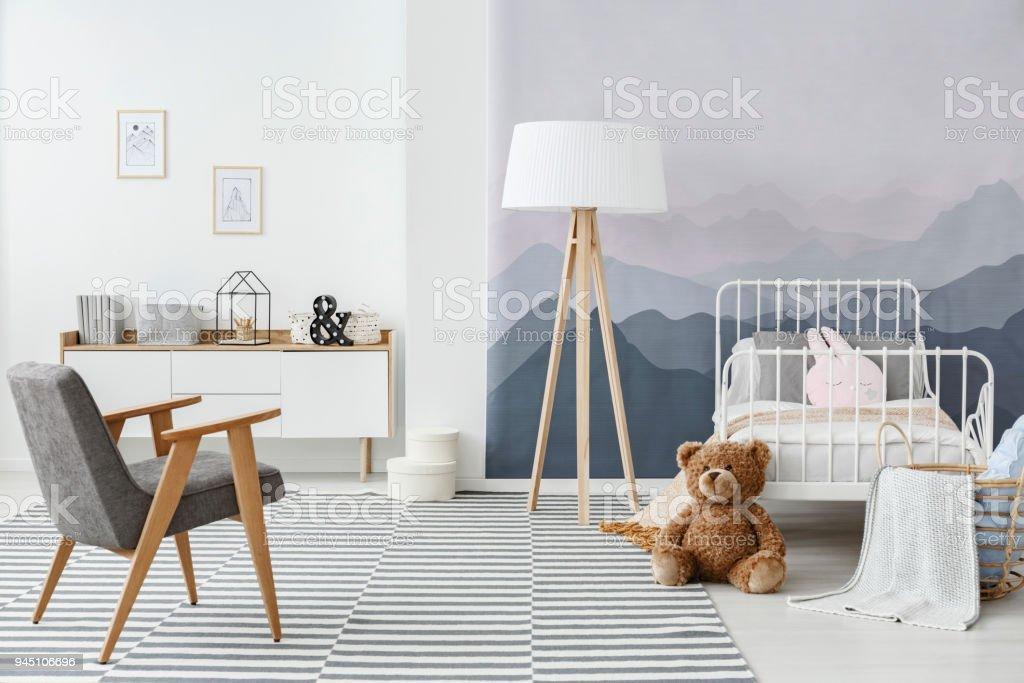Mountain child's bedroom interior stock photo