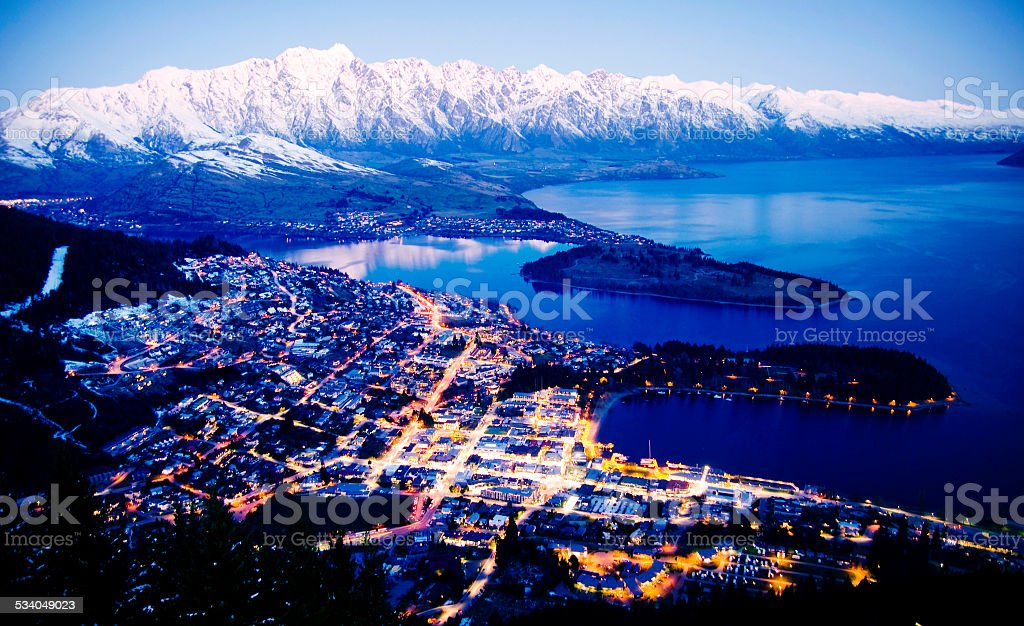 Mountain Cityscape Lake Beautiful Travel Destinations Concept stock photo