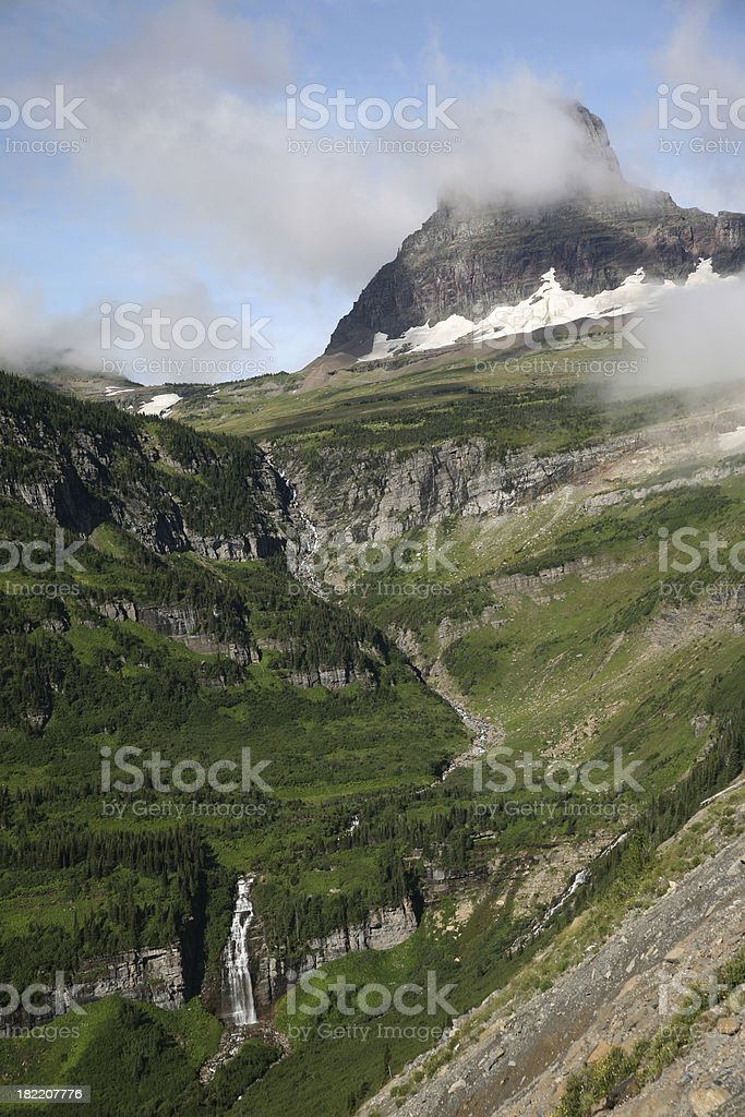 Mountain Cliffs at Glacier National Park stock photo
