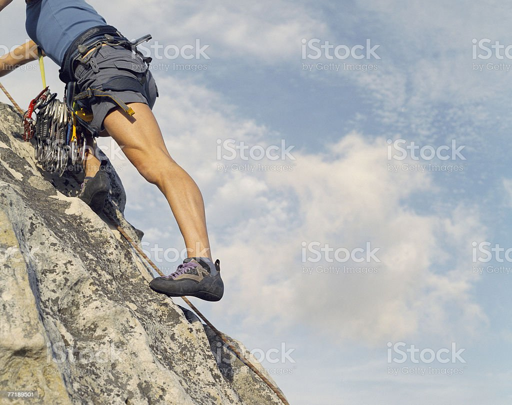 A mountain climber from the neck down