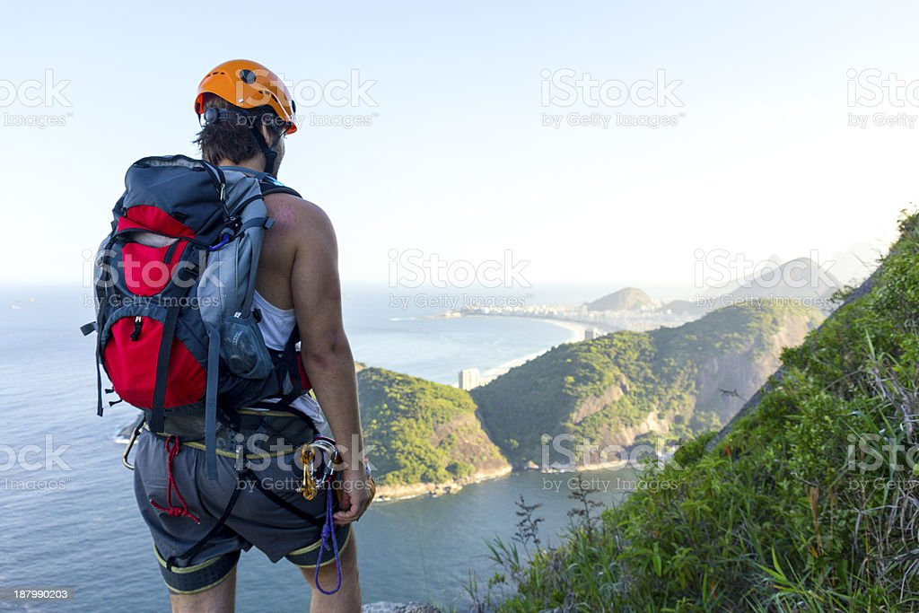 Mountain climber looking at view royalty-free stock photo