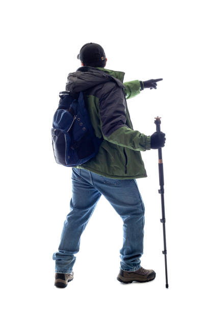 Mountain Climber or Hiker on a White Background stock photo