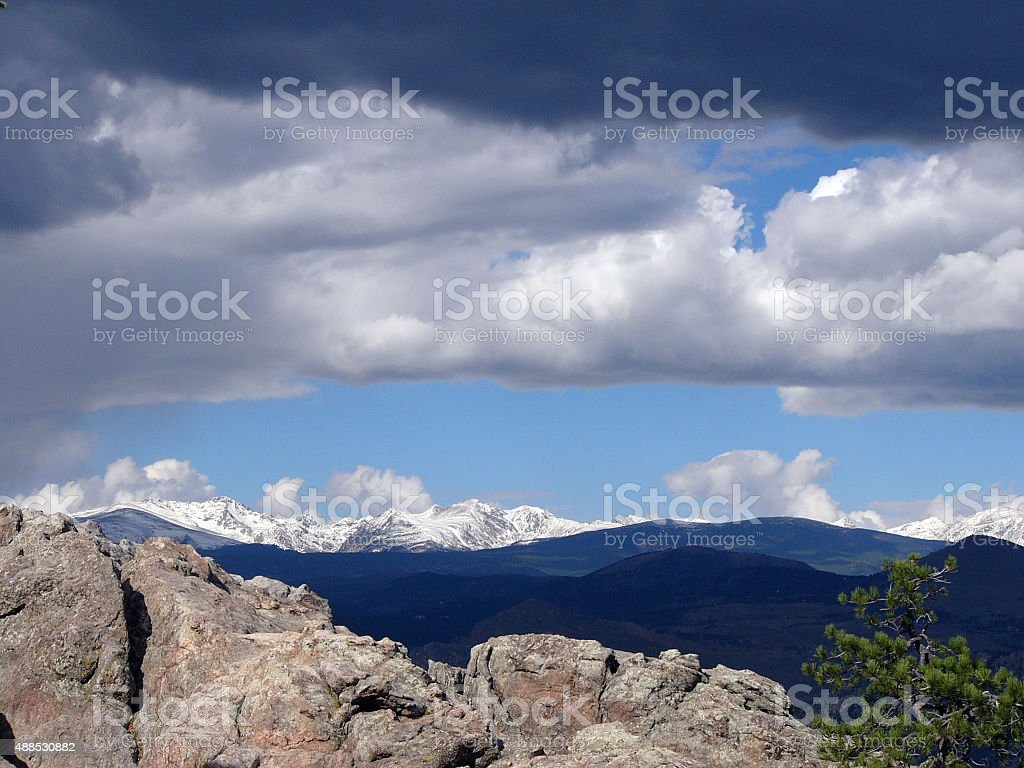 mountain cloud scenery stock photo